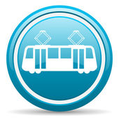 Tram blue glossy icon on white background — Stock Photo