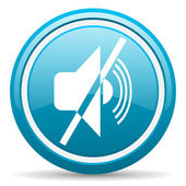 Mute blue glossy icon on white background — Stock Photo
