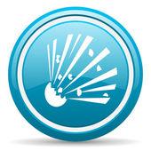 Bomb blue glossy icon on white background — Stock Photo