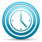 Clock blue glossy icon on white background — ストック写真