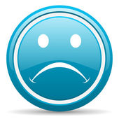 Cry blue glossy icon on white background — Stock Photo