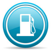 Fuel blue glossy icon on white background — Stock Photo