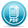 Pdf blue glossy icon on white background - Stock Photo