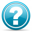 Question mark blue glossy icon on white background — Stock Photo
