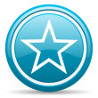 Star blue glossy icon on white background — Lizenzfreies Foto
