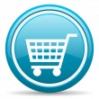 Shopping cart blue glossy icon on white background — Stock Photo #18349135