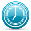 Clock blue glossy icon on white background — Stock Photo