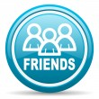 Friends blue glossy icon on white background - Stock Photo