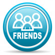 Friends blue glossy icon on white background - Foto Stock