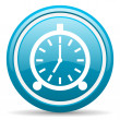 Foto de Stock  : Alarm clock blue glossy icon on white background