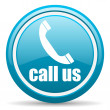 Call us blue glossy icon on white background — Stock Photo