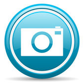 Camera blue glossy icon on white background — Stock Photo