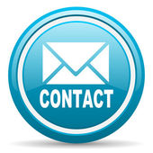 Contact blue glossy icon on white background — Stock Photo