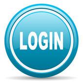 Login blue glossy icon on white background — Stock Photo