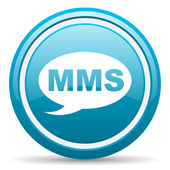 Mms blue glossy icon on white background — Zdjęcie stockowe