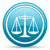Justice blue glossy icon on white background — Stock Photo