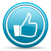 Thumb up blue glossy icon on white background — Stock Photo