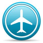 Airplane blue glossy icon on white background — Stock Photo