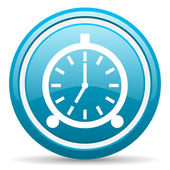 Alarm clock blue glossy icon on white background — Stock Photo