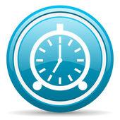 Budzik niebieski ikona na białym tle — Zdjęcie stockowe