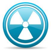 Radiation blue glossy icon on white background — Stock Photo