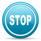Stop blue glossy icon on white background — Stock Photo