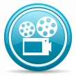 Cinema blue glossy icon on white background — Stock Photo