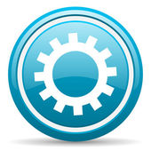Gears blue glossy icon on white background — Stock Photo