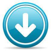 Arrow down blue glossy icon on white background — Stock Photo