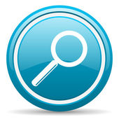 Search blue glossy icon on white background — Stock Photo