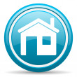 Home blue glossy icon on white background — Stock Photo