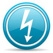 Lightning blue glossy icon on white background — Stock Photo