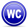 Wc blue glossy icon on white background — Stock Photo