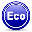 Eco blue glossy icon on white background — Lizenzfreies Foto