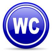 Wc niebieski ikona na białym tle — Zdjęcie stockowe