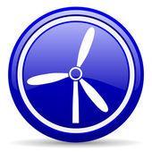 Větrný mlýn modrý lesklý ikona na bílém pozadí — Stock fotografie