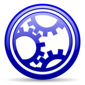 Gears blue glossy icon on white background — 图库照片