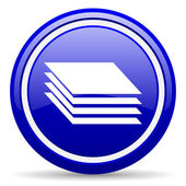 Layers blue glossy icon on white background — 图库照片