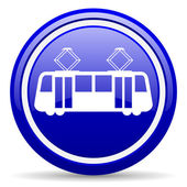 Tram blue glossy icon on white background — 图库照片
