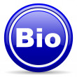 Bio blue glossy icon on white background — Stock Photo