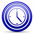 Clock blue glossy icon on white background — Stock Photo #18560283