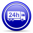 Stock Photo: Delivery 24h blue glossy icon on white background