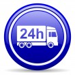 Delivery 24h blue glossy icon on white background — Stock Photo #18560349