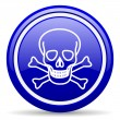 Skull blue glossy icon on white background — Stock Photo