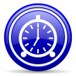 Alarm clock blue glossy icon on white background — Photo