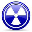 Radiation blue glossy icon on white background - Stock Photo