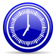 Clock blue glossy icon on white background — Stock Photo #18560981
