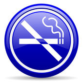 No smoking blue glossy icon on white background — 图库照片