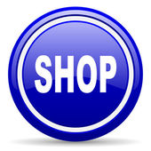 Shop blue glossy icon on white background — 图库照片