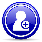 Add contact blue glossy icon on white background — Stock Photo